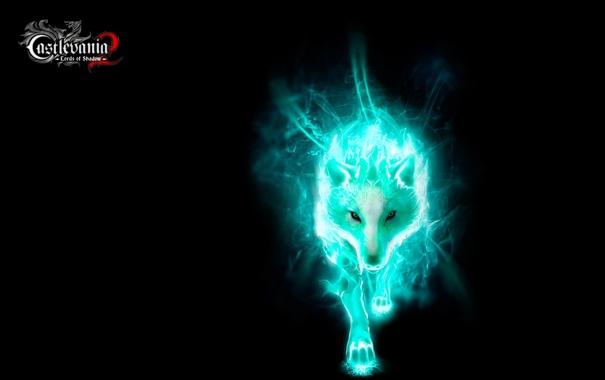 Фото обои темный фон, волк, свечение, Castlevania, Lords of Shadow 2