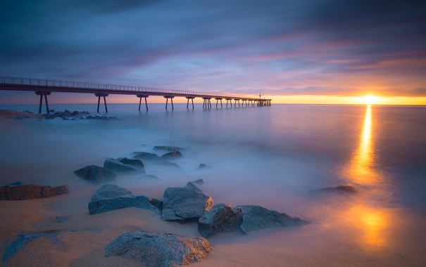 Фото обои sunset, rock, ocean, cloud