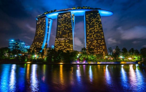 Фото обои ночь, дизайн, огни, река, здание, фонари, Сингапур
