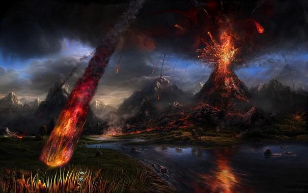 Фото обои обломки, лава, извержение вулкана, eruption