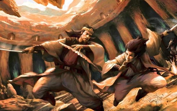 Фото обои поединок, арт, веер, битва, мужчины, оружие