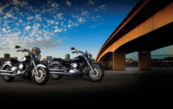Фото обои мотоциклы, yamaha, bridge, choppers, ямаха, чопперы, xvs1100a