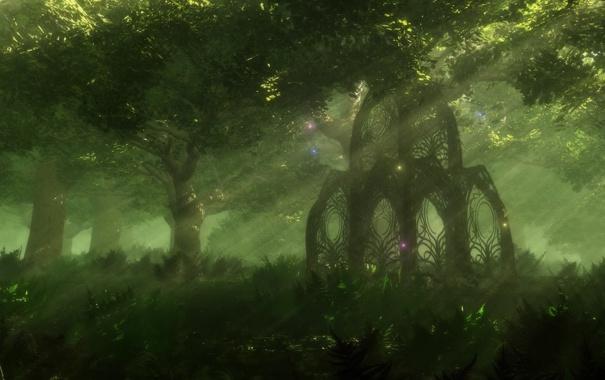Фото обои лучи, свет, деревья, природа, светлячки, беседка, таинственный