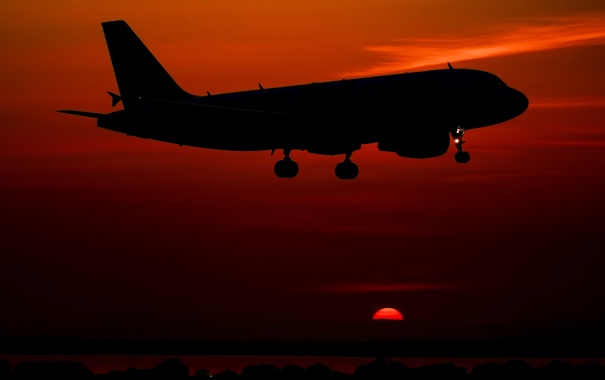 Фото обои небо, закат, самолёт, пассажирский