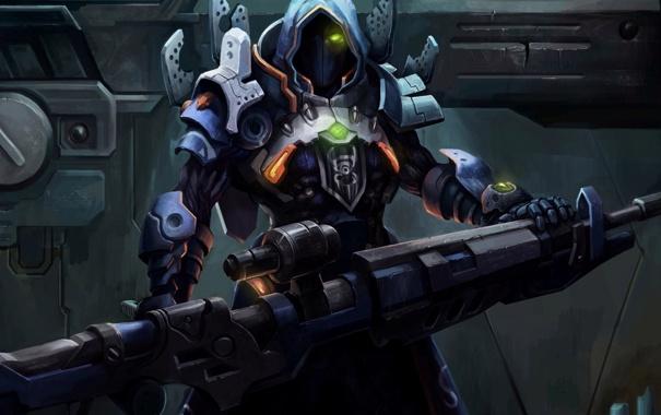 Фото обои металл, оружие, маска, арт, капюшон, мужчина
