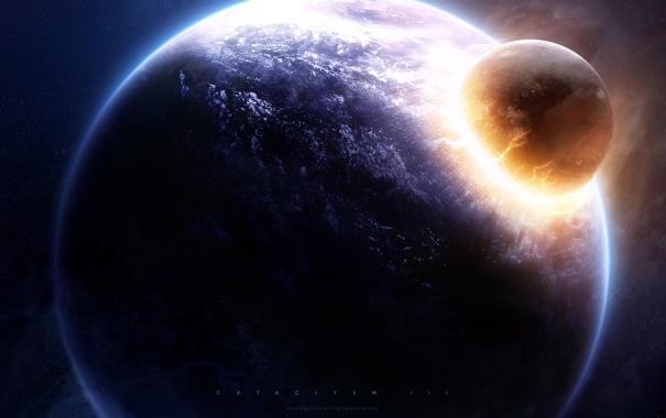 Фото обои планета, астероид, удар, impact, катаклизм