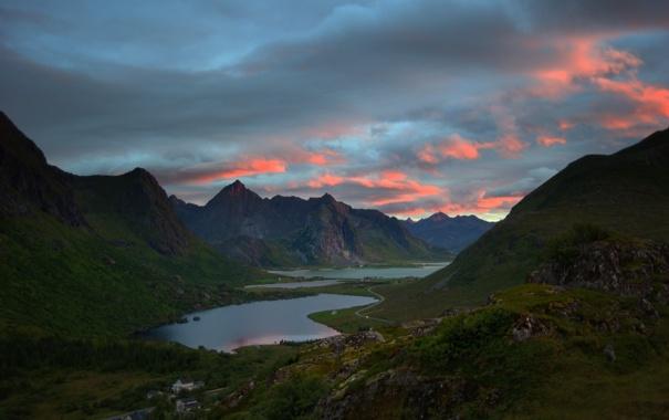 Фото обои небо, горы, река, vareidet