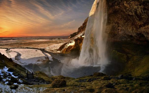 Фото обои пейзаж, река, гора, водопад