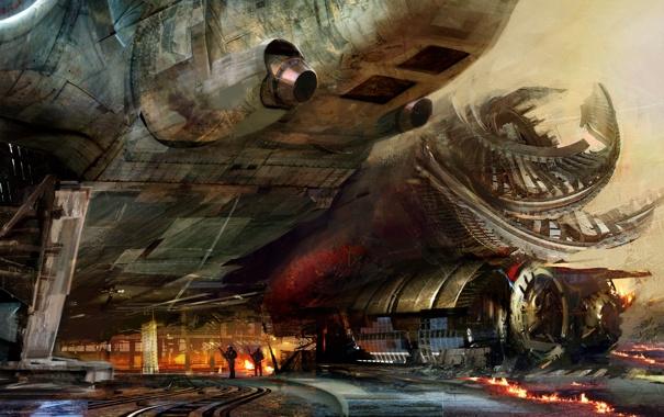 Фото обои люди, огонь, транспорт, корабль, арт, Daniel Dociu