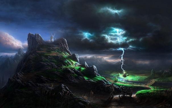 Фото обои гроза, ночь, мельница, Fel-X