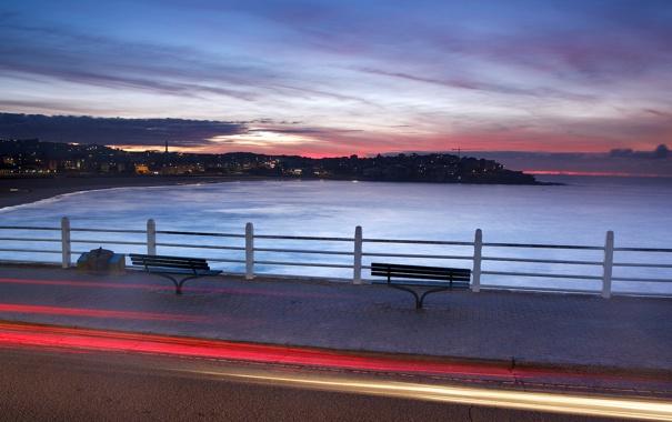 Фото обои море, ночь, город, улица