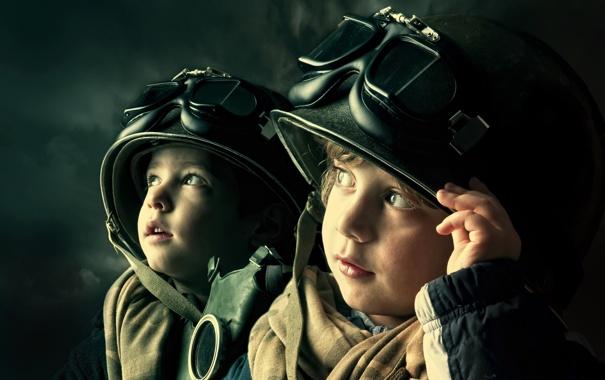 Фото обои дети, очки, шлем, мальчики