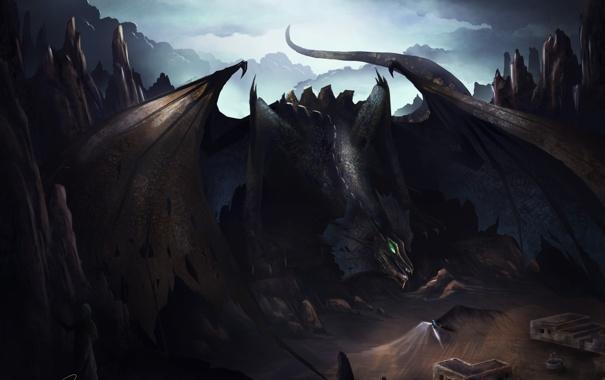Фото обои взгляд, оружие, фантастика, дракон, крылья, ангел, демон