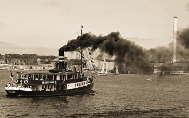 Фото обои дым, пароход, чёрно-белая, Alexandra