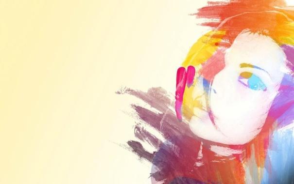 Фото обои девушка, лицо, краски, рисунок, портрет