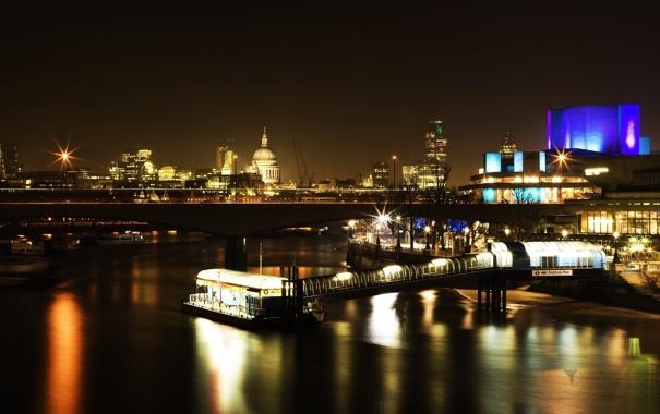 Фото обои город, огни, река, англия, дома, лондон, вечер
