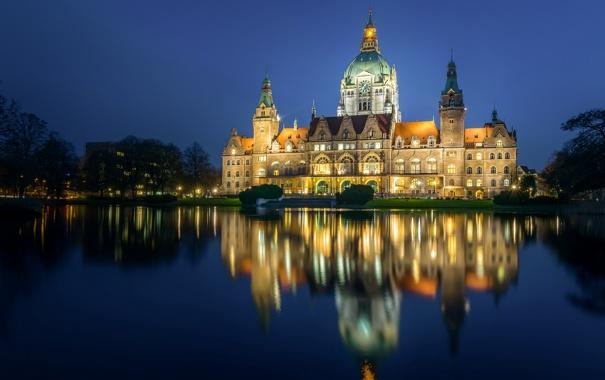 Фото обои пруд, парк, отражение, Германия, Germany, ратуша, Ганновер