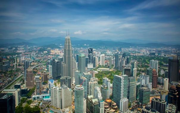 Фото обои здания, панорама, небоскрёбы, Малайзия, Kuala Lumpur, Malaysia, Куала-Лумпур