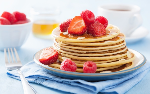 Фото обои ягоды, малина, еда, завтрак, клубника, мед, мёд