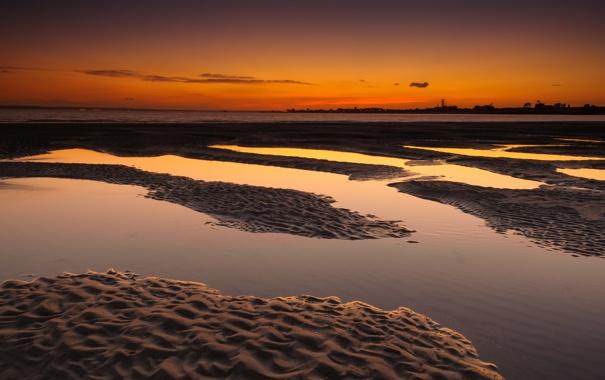 Фото обои песок, пляж, озеро, рассвет