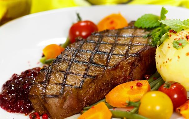 Фото обои помидоры, картошка, мясное блюдо, steak