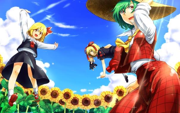 Фото обои небо, солнце, облака, подсолнухи, девушки, шляпа, арт