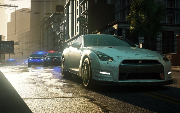 Фото обои город, трасса, полиция, погоня, Need for Speed, ниссан, Electronic Arts