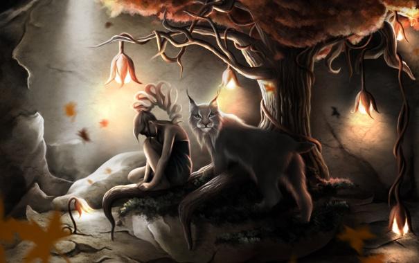 Фото обои листья, девушка, цветы, лампы, дерево, зверь, рысь