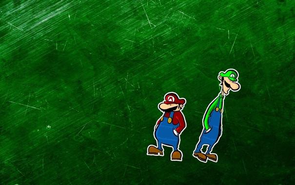 Фото обои зелёный фон, mario bross, братья марио