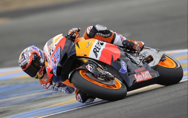 Фото обои Фото, Поворот, Гонка, Трасса, Honda, MotoGP, Team