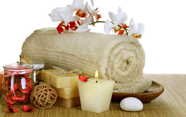 Фото обои relax, soap, flowers, bath, спа, orchid, candles