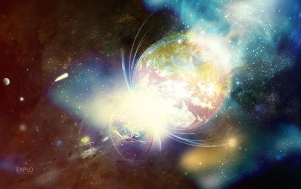 Фото обои цвета, космос, звезды, фон, обои, планеты, вспышки