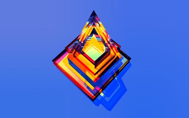 Фото обои цветные, треугольники, углы, голубой фон