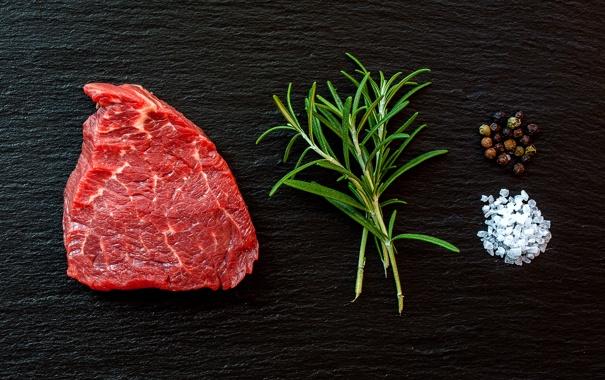 Фото обои herb, steak, coarse salt, black pepper