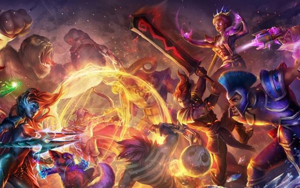 Фото обои огонь, магия, меч, бой, горилла, битва, Strife