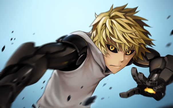 Фото обои глаза, руки, парень, киборг, протез, блондин, OnePunch-Man