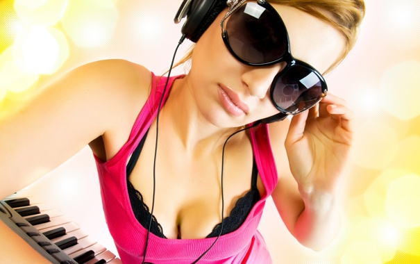 Фото обои music, girl, headphones
