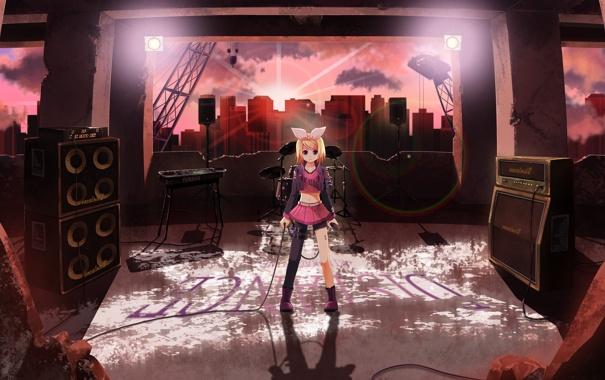 Фото обои девушка, солнце, город, динамики, арт, микрофон, руины