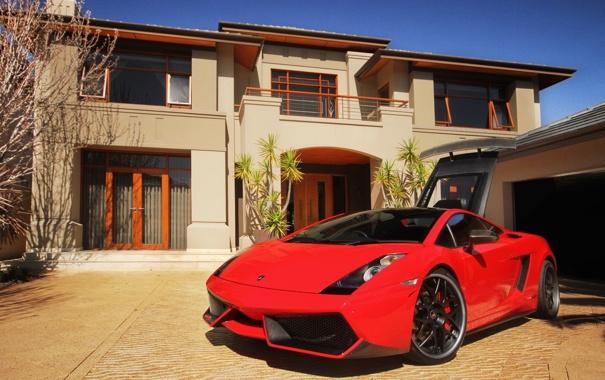 Фото обои галлардо, дом, суперкар, lamborghini, ламборгини, gallardo, red