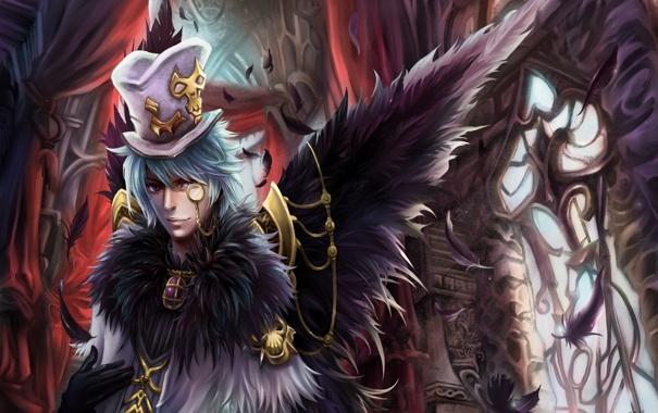 Фото обои замок, крылья, шляпа, перья, арт, парень, цилиндр