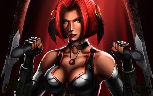 Фото обои bloodrayne, грудь, рыжая, девушка, лезвие, вампир