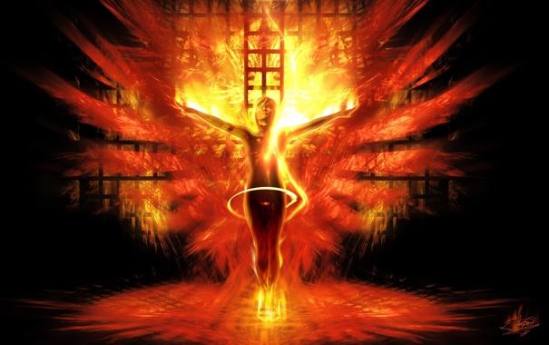 Фото обои девушка, фантастика, огонь, пламя, крылья, арт, феникс