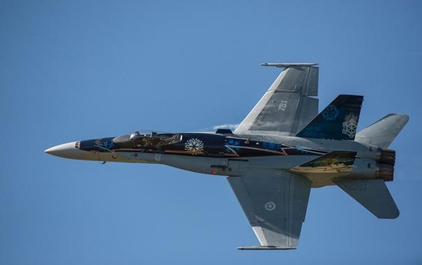 Фото обои полет, истребитель, Hornet, CF-18