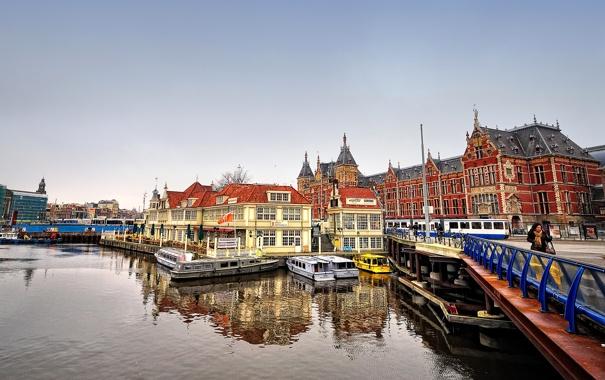 Фото обои мост, дома, лодки, канал, амстердам, nederland, amsterdam