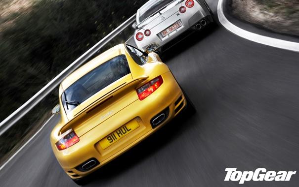 Фото обои дорога, желтый, 911, Porsche, серебристый, вираж, nissan
