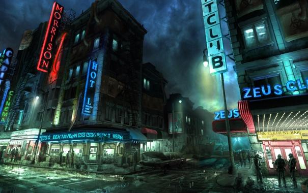 Фото обои ночь, люди, улица, апокалипсис, солдаты, нью йорк, Prototype 2
