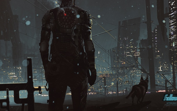 Фото обои ночь, город, человек, собака, Fallout, art, by KuldarLeement