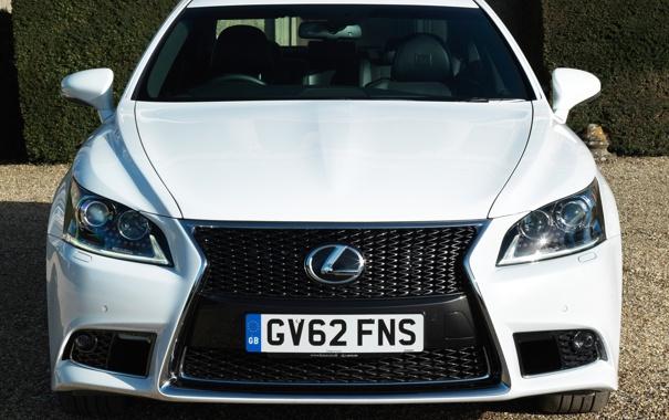 Фото обои фары, логотип, Lexus, капот, автомобиль, передок, F-Sport
