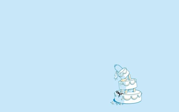 Фото обои жених, сладкое. свадьба, девушка, мужчина, голубой фон, торт, невеста