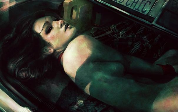 Фото обои машина, взгляд, девушка, голая, арт, багажник, jeu de role
